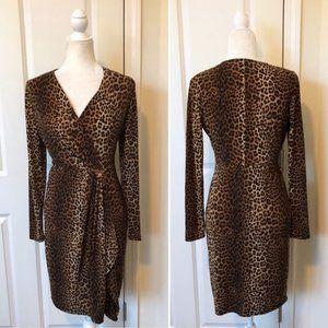 Michael Kors Leopard Print Wrap Effect Dress